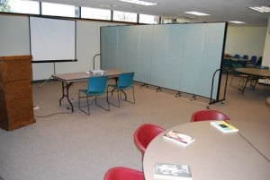 Room Dividers in the Church Divide the Classroom Into Multiple Rooms