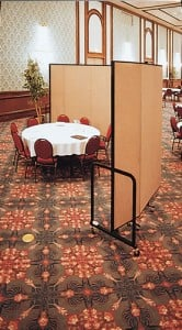 Screenflex Room Divider used to divide small area in a ballroom in hotel