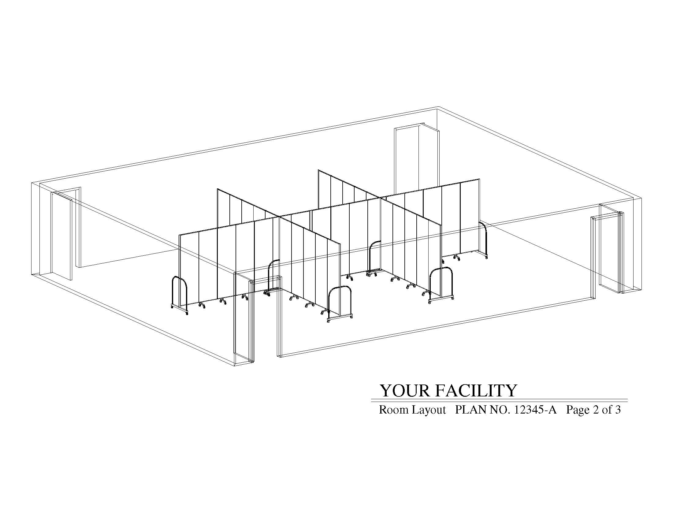 Diagram of a 3D room divider floor plan