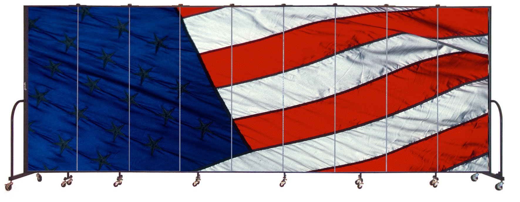 American flag mural on a Screenflex portable room divider