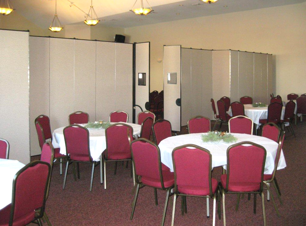 Screenflex Room Dividers provide reception banquet area in large room