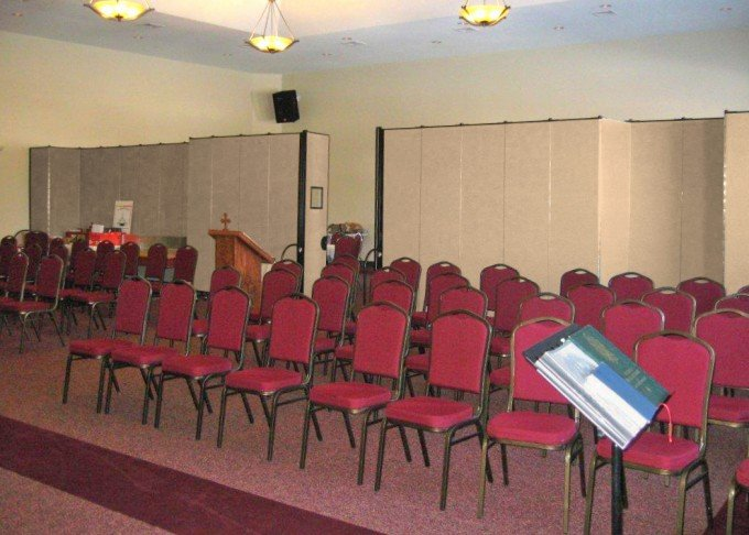 area set up for a temporary church service