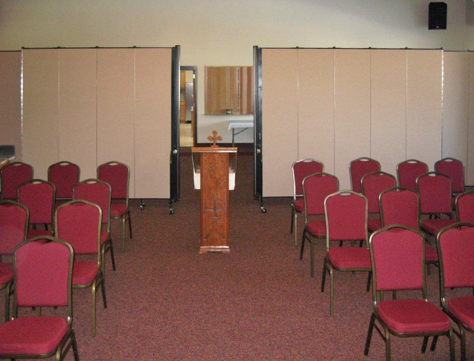 Screenflex Room Dividers used as a back drop in a church service