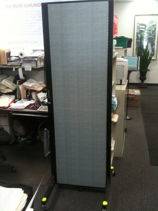 Closed Screenflex Freestanding Office Partition in an office