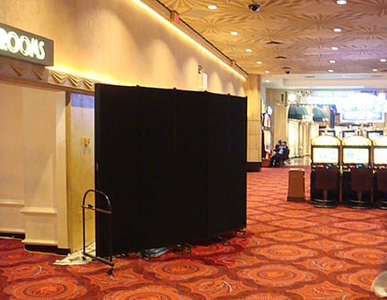 portable temporary wall in a casino