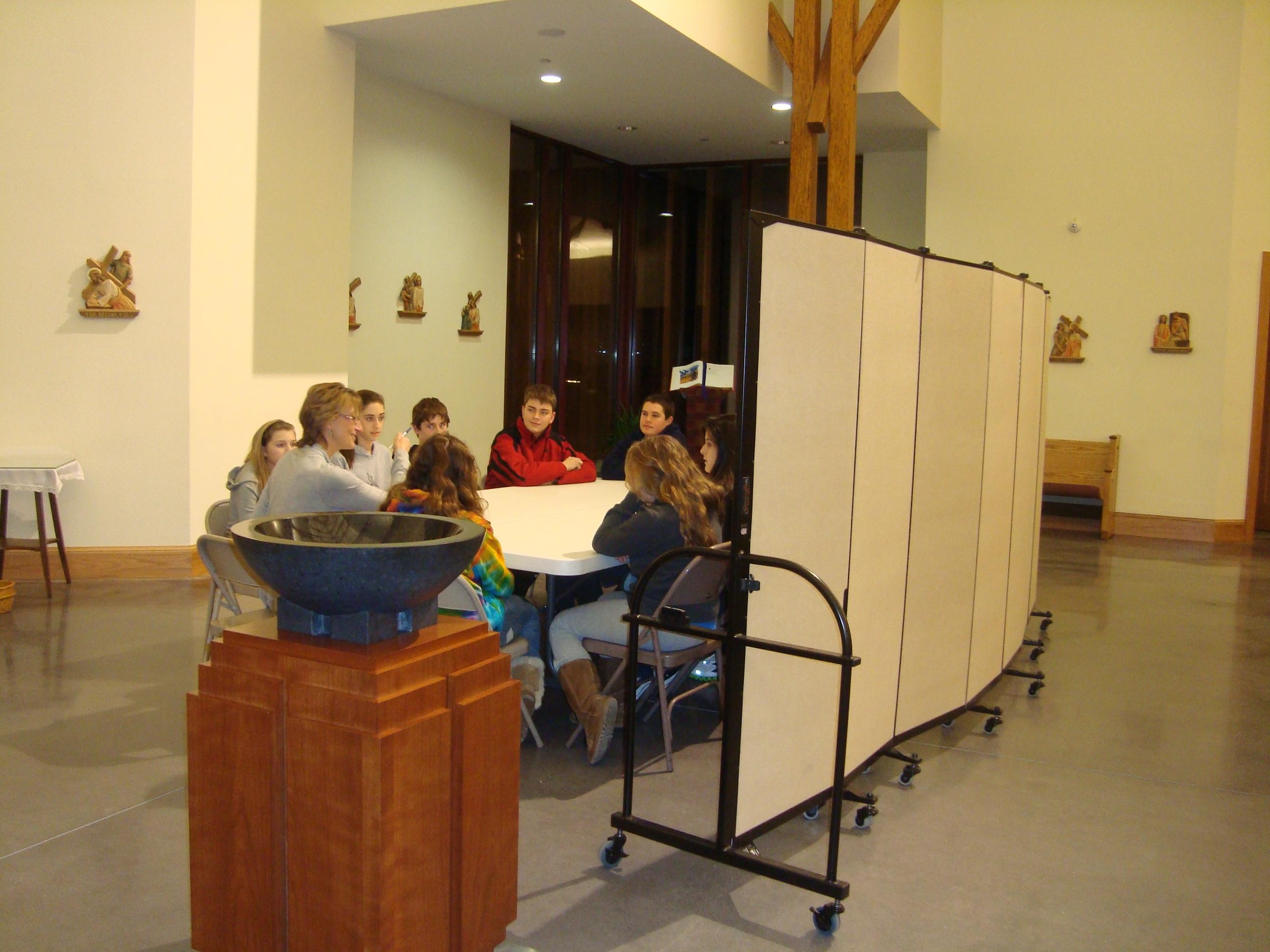Church Room Divider makes a Classroom Area in Church