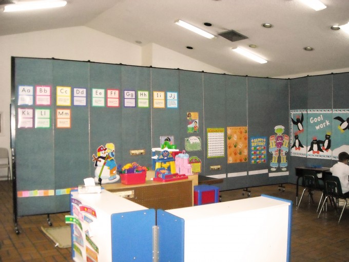 Instant Classroom made with Portable, Tackable Wall Dividers