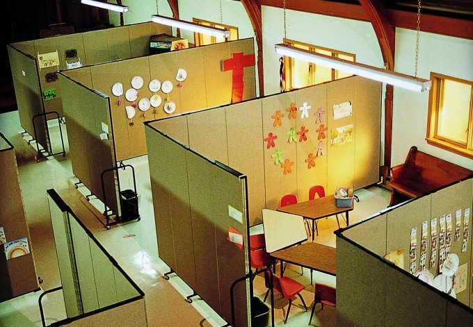 Sunday school rooms created with wallmount room partitions