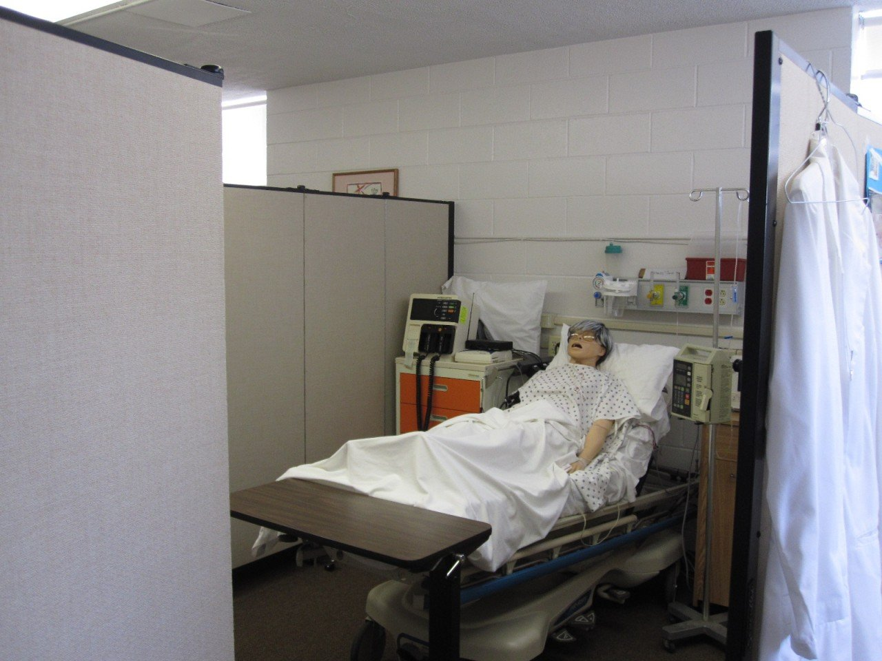 Room Divider Screens provide separation simulated hospital setting