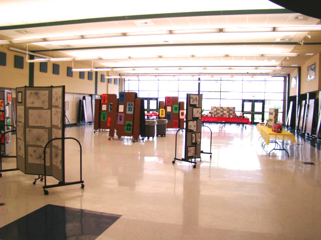 Room Dividers create Middle School Art Display Areas