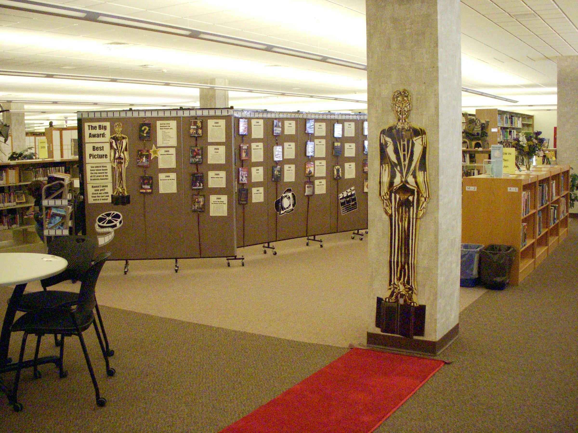School library display Oscars trivia