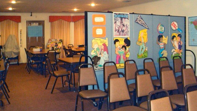 Religious Education Classroom setup in fellowship hall with room divider
