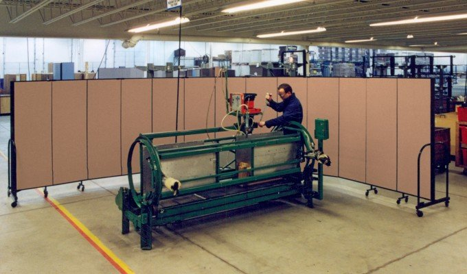 Maintenance Workers more easily focus on the job at hand when portable dividers create their own workspace