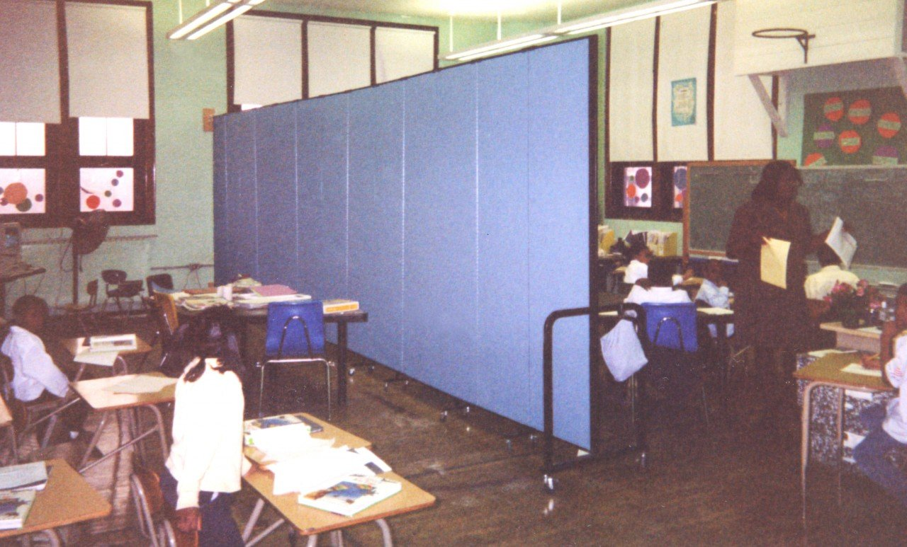 One large classroom can easily turn into two with acoustical accordion walls