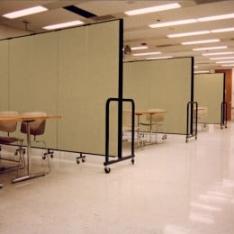 Three portable dividers create four teaching areas
