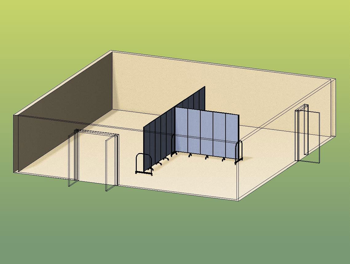 Two Classrooms From T Shape 3D