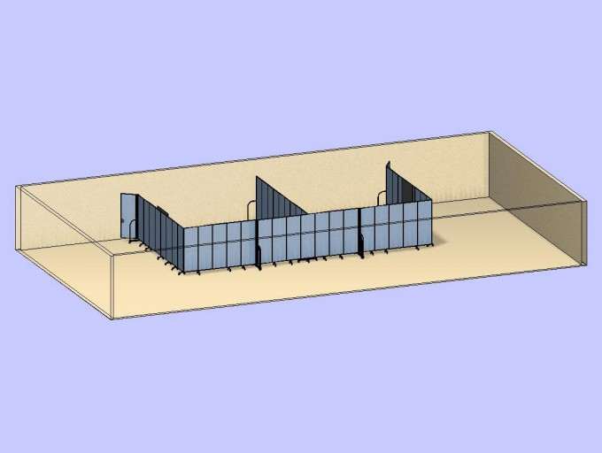 Two Classrooms With Doors 3D
