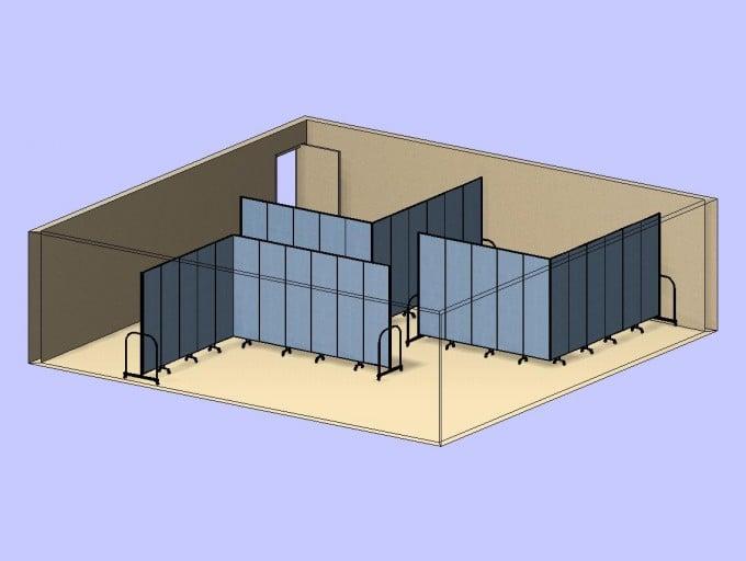 3 L Shaped Classrooms 3D