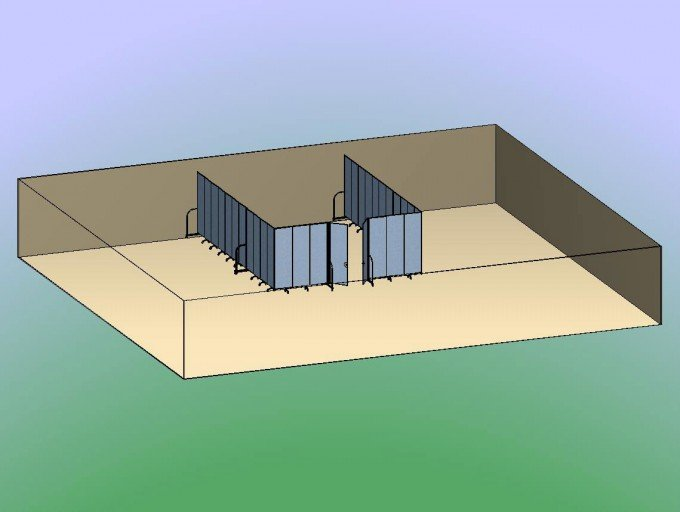 Double Door Divider Room 3D- Create large classroom