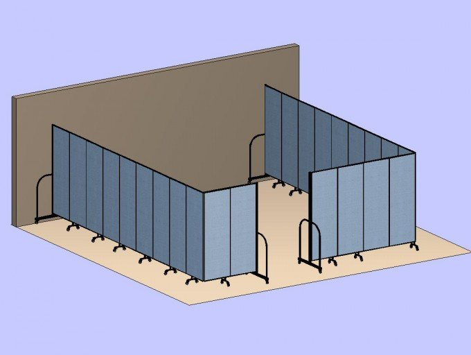 Two Divider Room 3D Rendering of a College Bookstore Storage Room