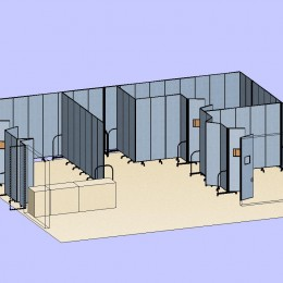 3 Classrooms With Double Doors 3D