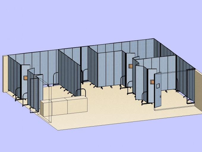 3 Classrooms With Double Doors 3D - Screenflex Use