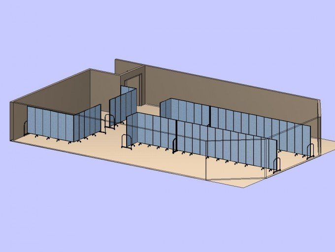 3 Long Divider Classrooms 3D