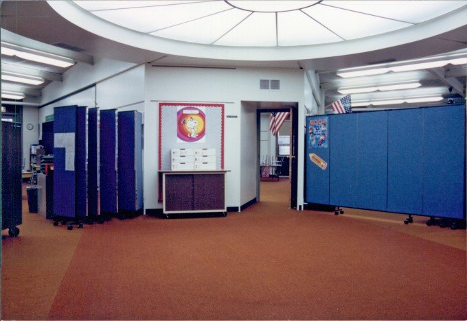 "This Addison, IL ""Pod"" school uses Wallmount Dividers to separate each classroom from the commons area"