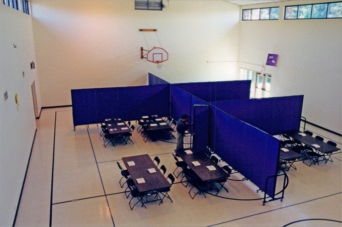 classrooms in a gym created by room dividers