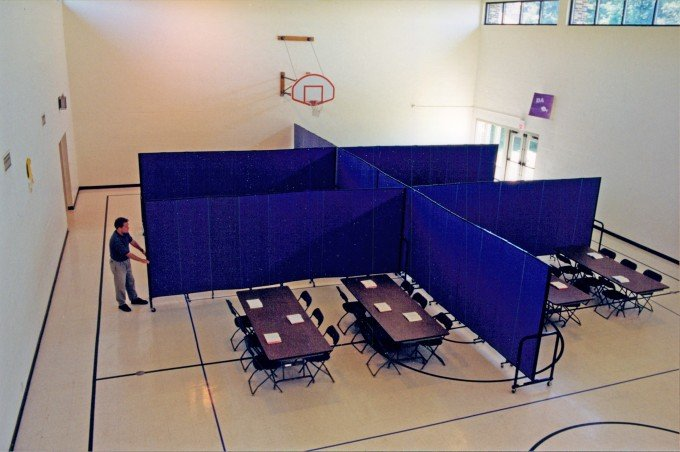 separate instant classrooms in a gym