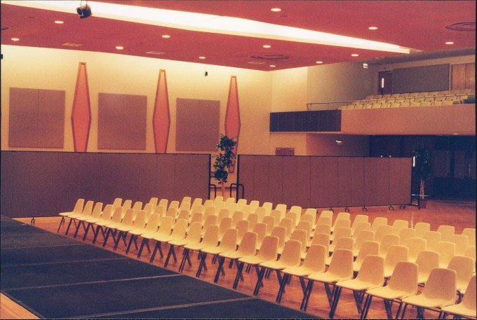 Inside looking out view of auditorium made more intimate with the help of Screenflex Portable Room Dividers