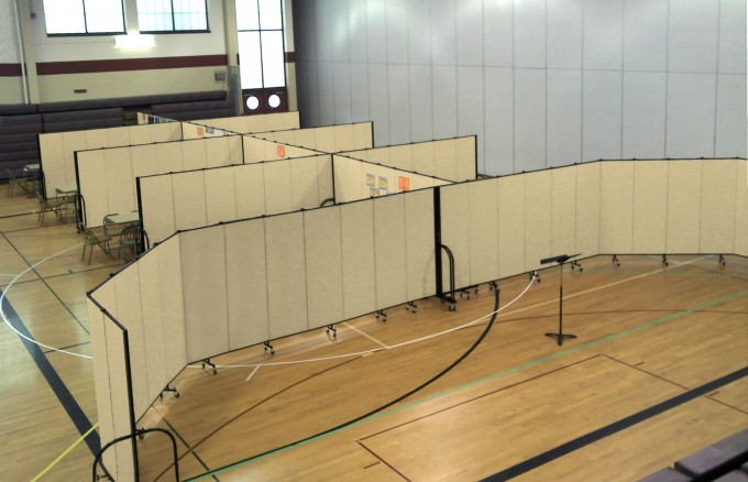Room Dividers provide lots of extra school classrooms in a Gymnasium