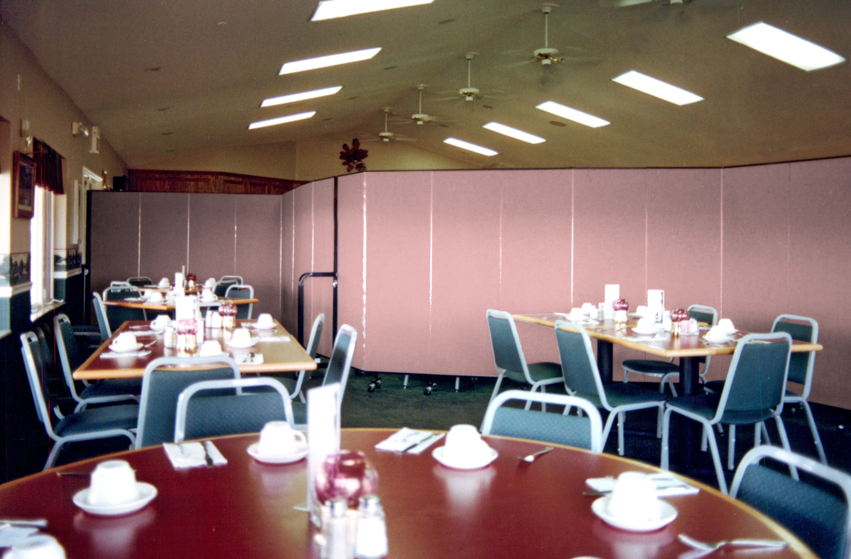 "VFW members get their own breakfast meeting ""space"" with the help of versatile portable dividers"