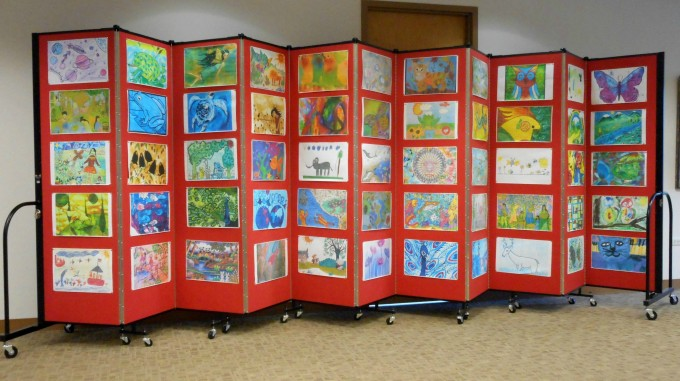 Art display on Screenflex Room Dividers
