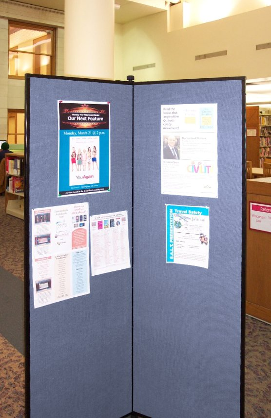 Flyers on display at a library