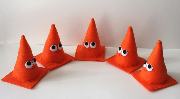 4 felt safety cones in a semi-circle