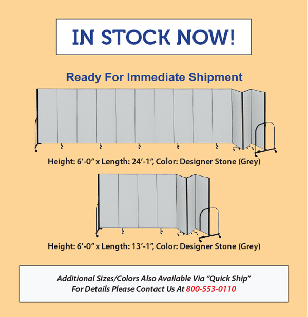 Two Gray Room Dividers In-Stock for Immediate Shipping-Buy Screenflex Room Dividers Now