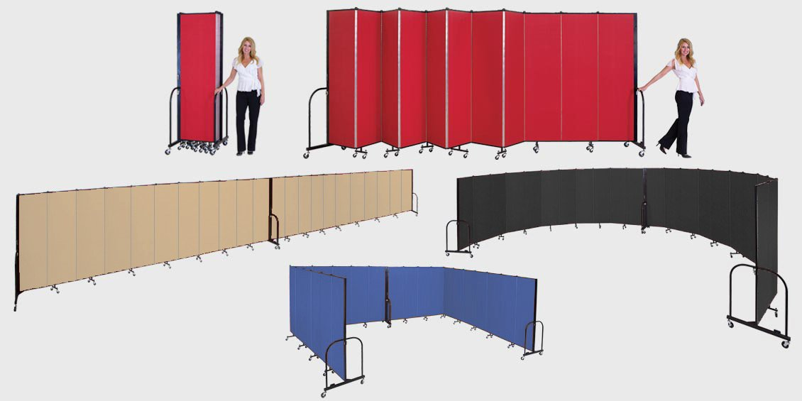 Portable room dividers folding temporary walls screenflex for Movable walls room partitions