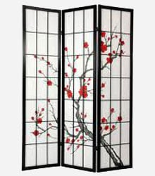 A three panel shoji screen with an image of a cherry blossom on the screen
