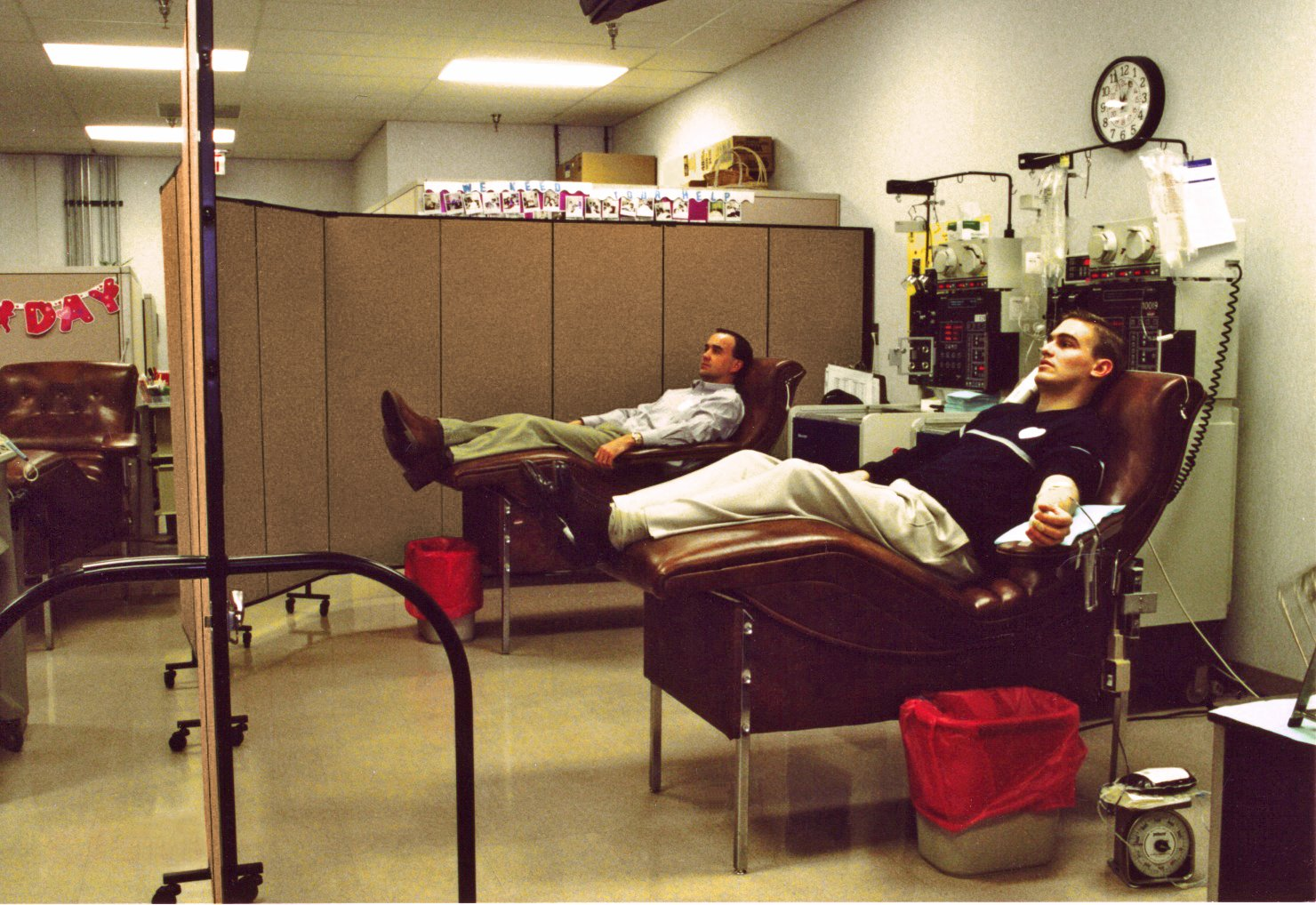 Patient privacy screens shield patients donating blood