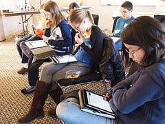 Students using iPads in school