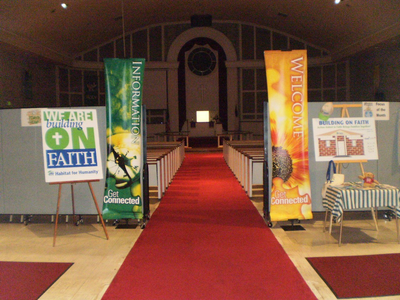 Sanctuary Entrance Hall created with Screenflex Room Dividers and Banners