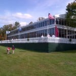 The clubhouse at the PGA golf tournament