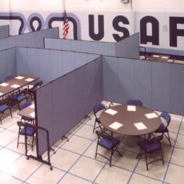 Six separate rooms of different size are set up in minutes at this Air Force Reserve Facility