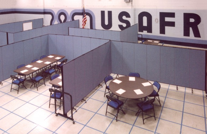Air Force Reserve Facility creates several rooms with Screenflex Room Dividers