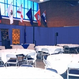 Blue room dividers create a more intimate dining hall for the US Air Force Academy annual banquet