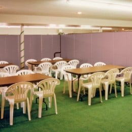 Dividers help create separate areas when two wedding showers were scheduled simultaneously