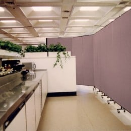 A Screenflex Room Divider shields dinners from the food prep area