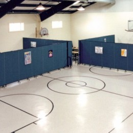 Portable room dividers are easily rolled into place for Sunday school and used for other ministries during the week