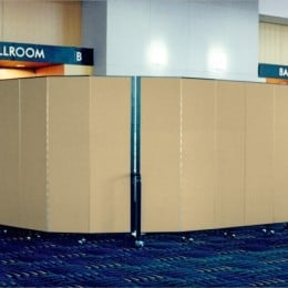 A Screenflex Room Divider creates an entryway to a ballroom for a conference presentation